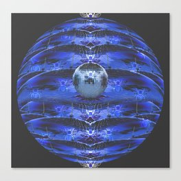 Disco Bee Hive Silver and Blue and Black Canvas Print