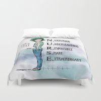 nurse Duvet Covers featuring Nurse with Stethoscope by Ginkelmier