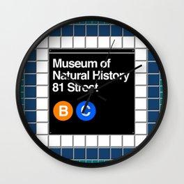 subway natural history sign Wall Clock