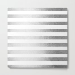 Simply Striped Moonlight Silver Metal Print