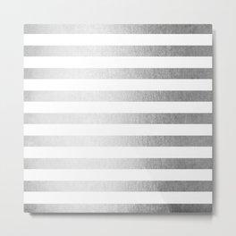 Simply Striped Moonlight Silver Metal Print