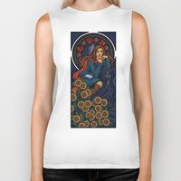 nouveau Biker Tanks featuring Pond Nouveau by Karen Hallion Illustrations