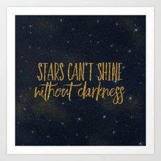 Stars- Darkness - sparkling gold glitter night typography 1 Art Print