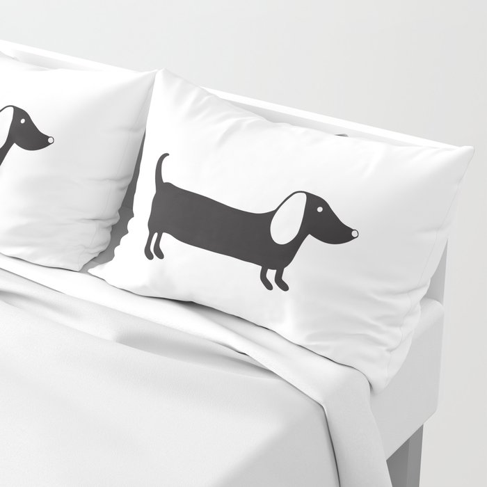 Simple black and white dachshund Pillow Sham