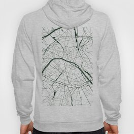 Paris France Minimal Street Map - Forest Green and White Hoody