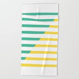 Beach Stripes Green Yellow Beach Towel