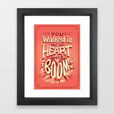 Heart went boom Framed Art Print