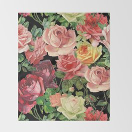 Vintage & Shabby chic - floral roses flowers rose Throw Blanket