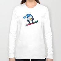 snowboarding Long Sleeve T-shirts featuring Too Cool to Penguin by Schwebewesen • Romina Lutz