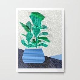 Ditz - house plant art neon pattern texture inky memphis style throwback 1980s 80s retro vintage  Metal Print