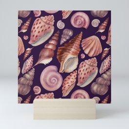 Watercolor Seashells Pattern on Plum Purple Mini Art Print