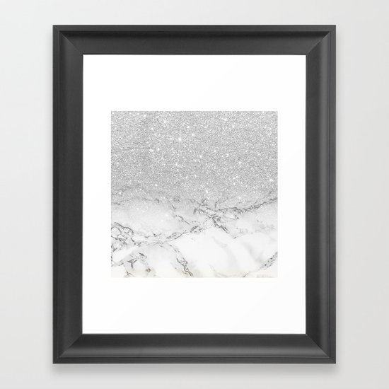 Modern faux grey silver glitter ombre white marble by girlytrend