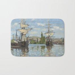 Claude Monet Ships Riding on the Seine at Rouen 18721873 Painting Bath Mat