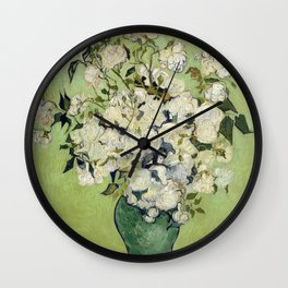 Vase of Roses by Vincent Van Gogh Wall Clock