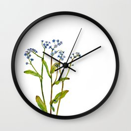 Forget-me-not flowers watercolor art Wall Clock