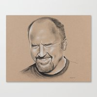 louis ck Canvas Prints featuring Louis CK by Jolene Rose Russell