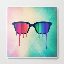 Love Wins! Rainbow - Spectrum (Pride) / Hipster Nerd Glasses Metal Print