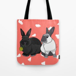 Elly and Bobby in Pantone Living Coral Tote Bag