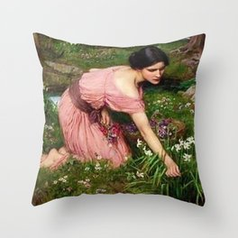 Spring Spreads One Green Lap of Flowers by John William Waterhouse Throw Pillow