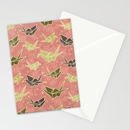Rose and Olive Paper Cranes with Flowers Stationery Cards