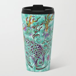 Koi with flaming lotus flowers Travel Mug