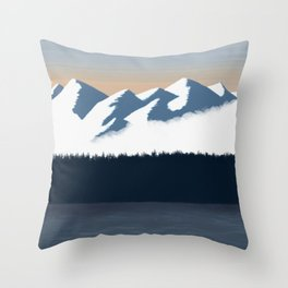 Olympic Mountains Sunset 2 Throw Pillow