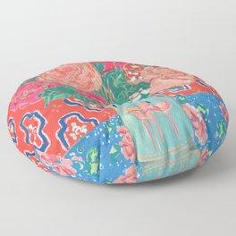 Roses in Enamel Flamingo Vase Floor Pillow