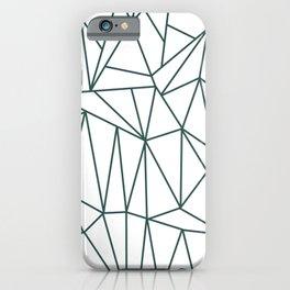 Geometric Cobweb (Dark Green & White Pattern) iPhone Case