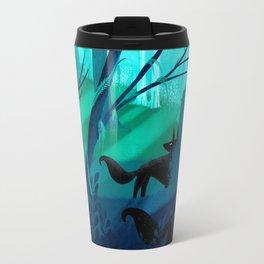 Shadow Wolves Stalk The Silver Wood Travel Mug