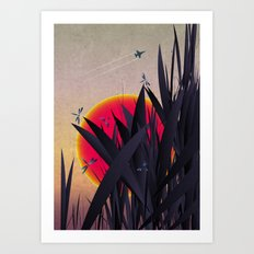 Red Heat with Dragonflies Art Print
