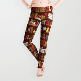Book Case Pattern - Red and Gold Leggings