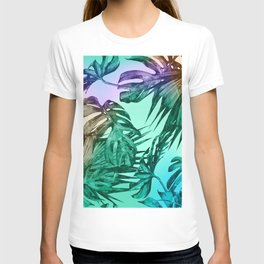 Simply Palm Leaves in Hologram Island Green T-shirt