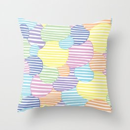 Circled Pastel Lines Throw Pillow