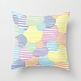 Circled Pastel Lines Throw Pillow