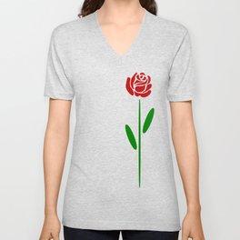 Single Long Stemmed Red Rose Unisex V-Neck