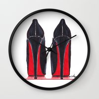 heels Wall Clocks featuring Mighty Heels by anna hammer