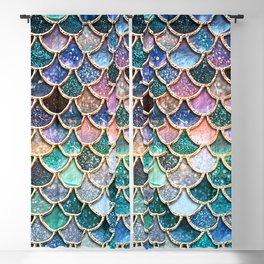 Multicolor Pink And Aqua Mermaid Scales - Beautiful Abstract Glitter Pattern  Blackout Curtain