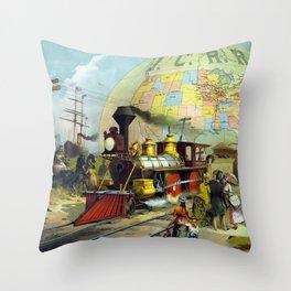 Vintage Transcontinental Railroad Throw Pillow