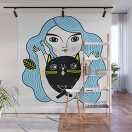 Cat Friend Forever (Blue Version) Wall Mural