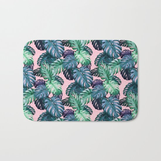 Monstera leaves II Bath Mat
