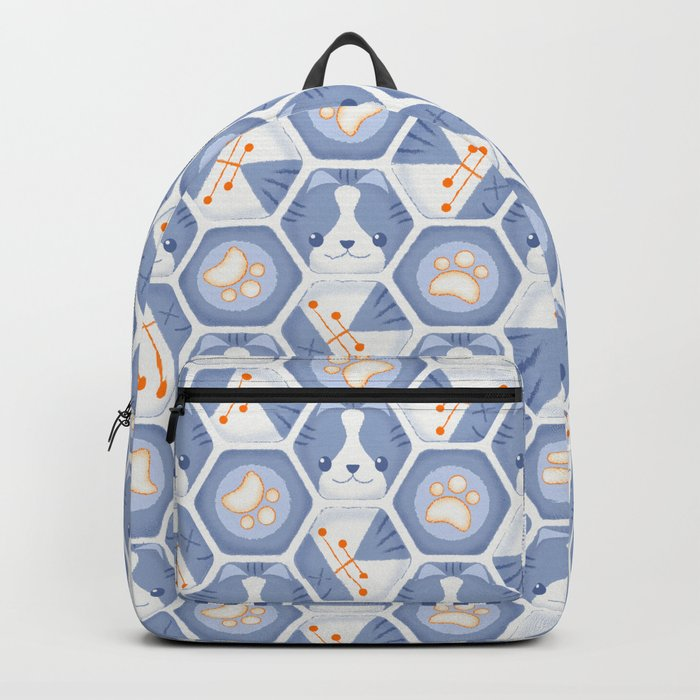Hexy Cats_Blue Backpack