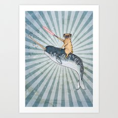 Pug on a Narwhal Art Print