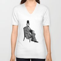 hat V-neck T-shirts featuring Hat Head by Ian Byers
