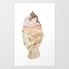 Watercolor Taiyaki Ice Cream Fish Art Print