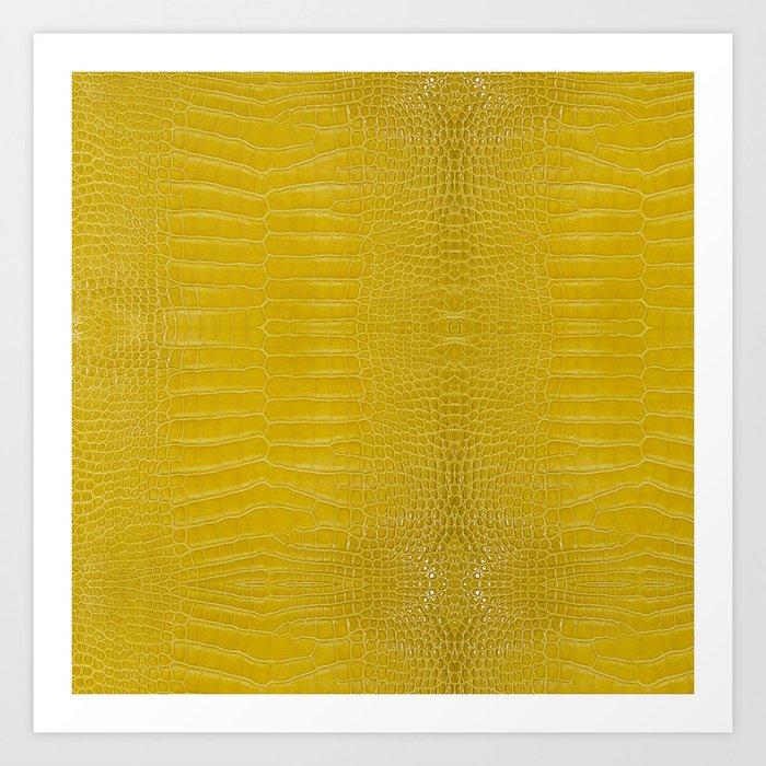 Yellow Alligator Leather Print Art Print