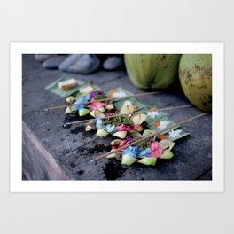 Balinese offerings in Ubud, Bali, Indonesia Art Print