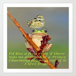 Frog and Butterfly Art Print
