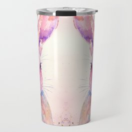 Watercolor Abstract Rabbit Hare blue purple Travel Mug