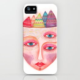 girl with the most beautiful eyes mask portrait iPhone Case