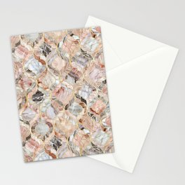 Rosy Marble Moroccan Tile Pattern Stationery Cards